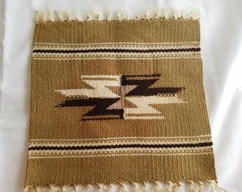Vintage Small Woven Mat or Rug, Earthtones, Handwoven, Beautiful