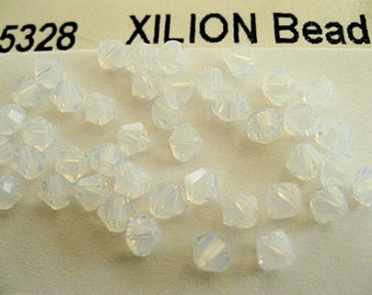 48 White Opal Swarovski Crystal Beads Bicone 5328 4mm
