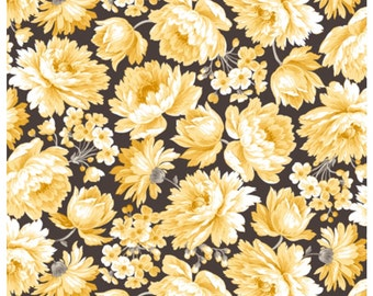Hideaway Packed Floral Charcoal Fabric 14 INCHES End Of Bolt Fabric By Quilting Treasures
