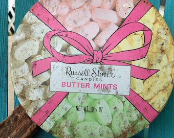 "Russell Stover Candies 1980s Butter Mints Storage Tin ~ 6.5"" Diameter Storage Tin"