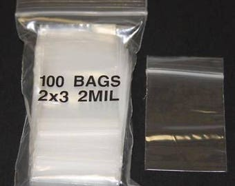 100 Mini 2X3 Clear Plastic Bags with Zip Closure 2mil thick - Resealable