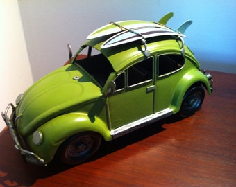VW Beetle Car - Lime Green Volkswagen Tin Metal Collectible Toy Home Decoration - Gift for  Him