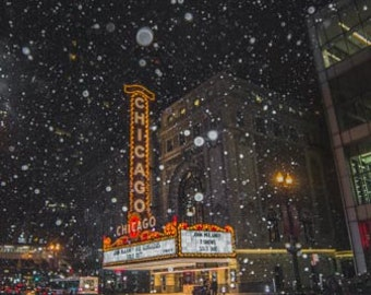 The Chicago Theater during a snowfall. Chicago, IL. Photography Print. Portrait. Wall Art. Home Decor. Urban. Nightscape.