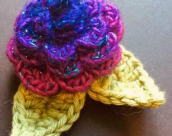 Handmade crochet flower brooch