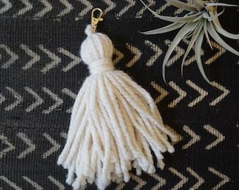Large tassel keychain and backpack charm / purse charm