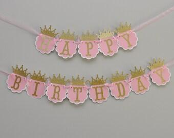 Princess Birthday Banner, Princess Party, Pink and Gold Princess Banner