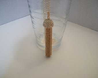 Pink Gold Color Tassel Pendant Necklace 26 inch Nichol Free chain 3 1/2 inch Tassel Clear Rhinestone on Cap