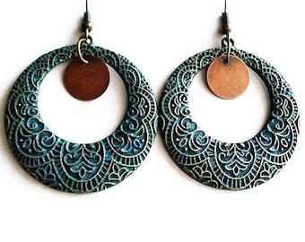 Mixed Metal Earrings Bohemian Jewelry Hoop Earrings Ethnic Jewelry Gift For Her Large Earring Statement Jewelry Gypsy Earrings Boho Earrings