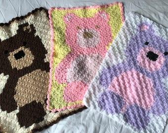 Handmade crochet teddy bear security blanket - Brown and Beige