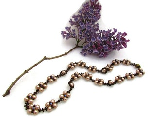 Beadwork jewelry necklace - brown necklace - beaded necklace - gift for her