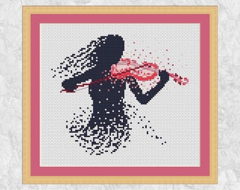 Violin cross stitch pattern, music counted cross stitch embroidery design, modern art violinist, musician, orchestra, silhouette, PDF chart