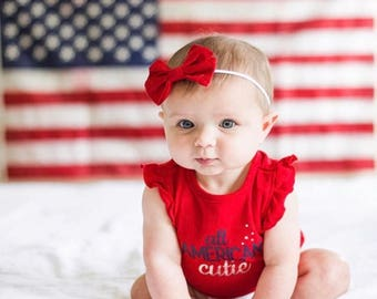 Red sailor bow, baby bows, baby headband, bows for girls, holiday bows