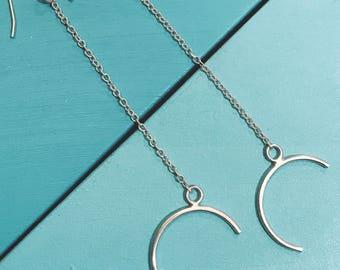 SALE || Long Half Moon Earrings || Sterling Silver, Handmade, Jewellery, Hooks, Earrings, Moon, Planets, Curve, Chain, Dangly, Long