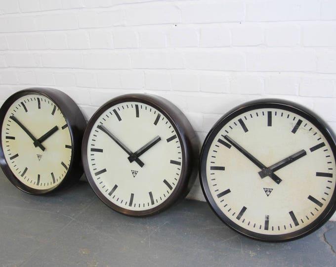 Large 50cm Bakelite Clocks By Pragotron Circa 1950s