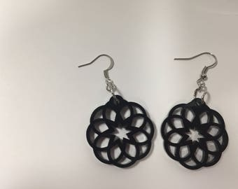 Black Acrylic Mandala Earrings