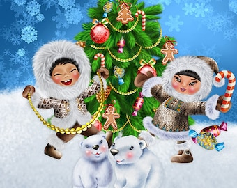 Eskimo Winter Snow Christmas Clipart | Commercial Use| Illustrations| Instant Download