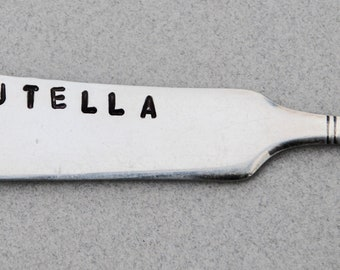 NUTELLA Spreader. Silver Plate Hand Stamped. Vintage antique silver. Hostess Gift. Peanutbutter Nutella. Home Decor Fun Gift. Thank you. Mom