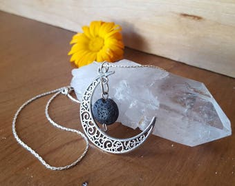 Diffuser Necklace - essential oil diffuser necklace lava bead necklace silver moon necklace essential oil necklace eclipse necklace