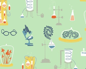 Laboratory Fabric; You Choose Size; SRR799-Yucca; Dear Stella | Rae Ritchie | Supernova; Science, Microscope, Lab, Eyeglasses, Beakers