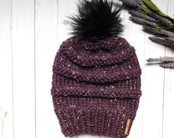 "The ""Mia"" hat. Chunky stripped slouchy hat for women. Gift ideas for her. Women winter hat wit faux fur pom pom"