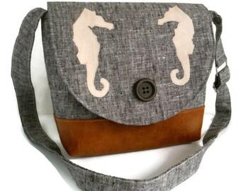 Handmade Seahorse Appliques - Vegan Crossbody Satchel - Linen - Faux Suede - Faux Leather