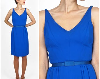Simple Vintage 1960s Bright Royal Blue Belted Party Dress by Saks Fifth Avenue | XS