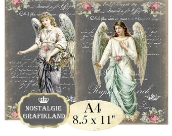 Angels Chalkboard Romantic Victorian Angel French Cupids printable A4 Large Image Instant Download digital collage sheet A139