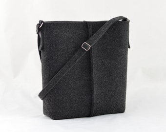 Crossbody purse, Charcoal minimalist felt handbag, Medium Size Felt Bag, handbag, anthracite shopping bag, shoulder bag, minimalist handbag,