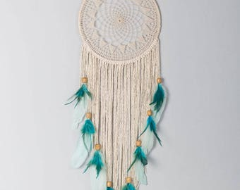 Doli, bohemian dreamcatcher with doily, beads and feathers