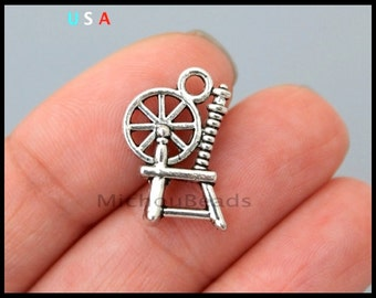 1 SPINNING Wheel Charm - 19mm 3D Antiqued Silver Wool Spinning Wheel Dangle Charm Pendant - Instant Ship - USA DIY Jewelry Wholesale - 6347