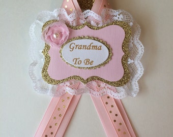 Grandma to be corsage/Baby shower Grandma to be pin/Pink and gold baby shower corsage