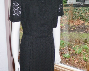 1950s Black Eyelet Wiggle Dress with Jacket, Summer Wiggle Dress with Jacket