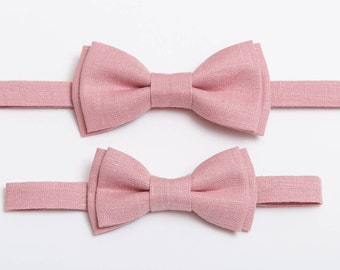 Father son matching Bow tie for man Dusty Pink Linen bow tie Toddler bow tie Boys bow tie Ring bearer outfit Wedding outfit Rustic tie