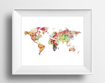 SALE -  World Map V1, Colorful Map, World Print, Country Poster, Shabby Chic, BOHO Print, Textural Pattern, Pattern Map, Vintage Map