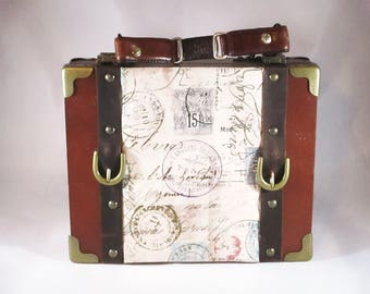 Travel Themed Cigar Box Purse, Postage Stamps, Air Mail, Paris, France Handbag, Unique Purse, Upcycled Montecristo Cigar Box Item 1024