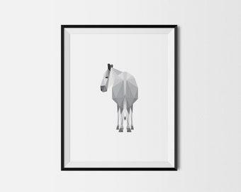 Geometric Art Print, Nursery Art, Baby Room Art, Donkey Art Print, Minimal Art Print