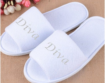 Personalised slippers, Diva, Bridal slippers, Bride, Bride to be, Bridal Shower, Printed Slippers.