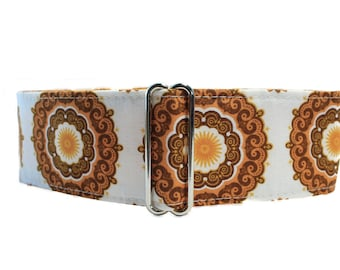 Gold Martingale Collar, Brown Martingale Collar, 2 inch Martingale Collar, Brown Dog Collar, Medallion, Wide Dog Collar