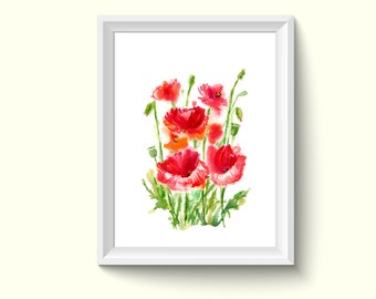Poppy Flower Watercolor Painting Poster Art Print P395