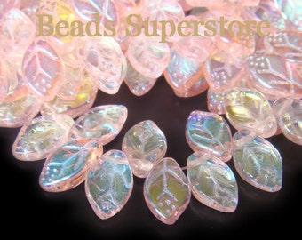 12 mm x 7 mm Rosaline AB Czech Glass Leaf Bead - 25 pcs
