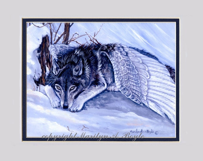MATTED WOLF FANTASY Giclee Print; art, wolf with wings, laying in snow, winter, silver wings, wall art, wildlife, 11 x 14 mat, feathers,