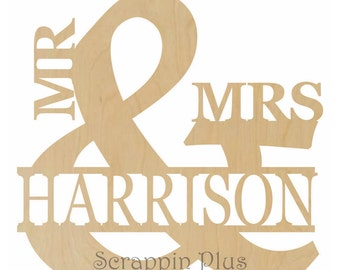 Mr and Mrs with Family Name - 1 Inch Thick - Mr and Mrs Sign, Mr and Mrs Decor, Mr and Mrs Wedding Guestbook A1018 1IN