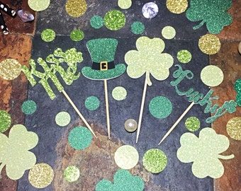 St. Patrick's Day Glitter Cupcake Toppers/St. Patty's Toppers/ St. Patty's Day Cupcake Toppers/ St. Patrick's Day Decorations