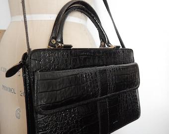 Jahrgang ANDREW GELLER Faux Alligator Handtasche