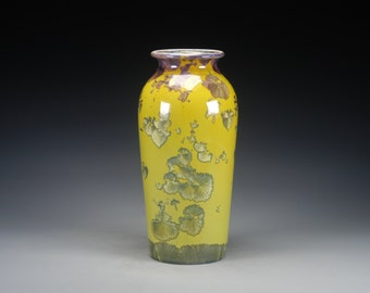 Ceramic Vase - Green, Lime, Yellow - Crystalline Glaze on High-Fired Porcelain - Hand-Made Pottery - SHIPPING INCLUDED  - #E-5278