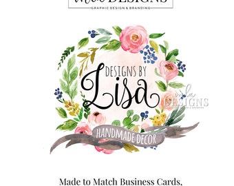 Boutique Logo, Wedding Logo, Wreath Logo, Floral Logo, Watercolor Logo, Business Logo, Premade Logo, Custom Logo Design, Round Logo