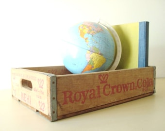 Vintage Royal Crown Cola soda crate, wood crate, RC Cola, Nehi delivery box, 1962 Chicago collectible, FR 6-7000 phone, Franklin exchange