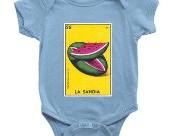 La Sandia Card Loteria Baby Onesie Watermelon Mexican Bingo Bodysuit