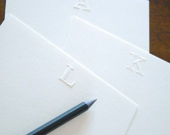 Embossed Stationery   Personalized Initial Notecards
