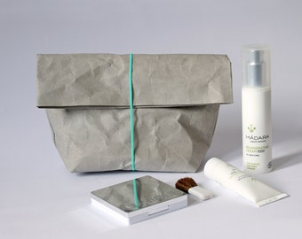 Make up bag | made from washable paper | Cosmetic bag | Toiletry storage bag | Wash bag | Bathroom Storage | Concrete look  |  Minimalist